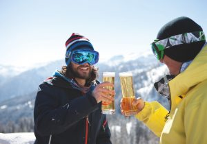 Drinking beer at the ski hut