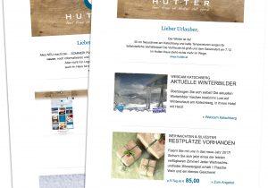 Alle versendeten Newsletter des Hotels Hutter